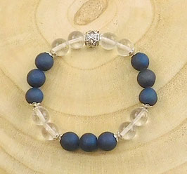 Armband blauer Drusenachat, Bergkristall