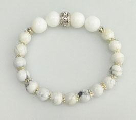 Armband weiße Jade und Howlith