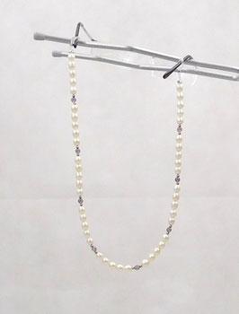 Brillenkette perlfarben aus Glasperlen