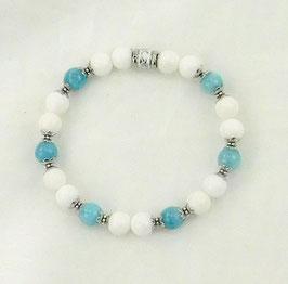 Armband weiße Jade mit ind. Saphir