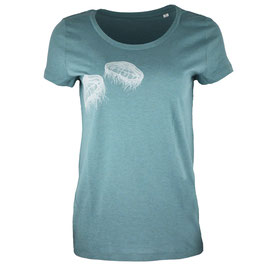 honourebel Women's TWO MOON JELLYFISH light T-shirt - 'Stormy' LagoonGreen/White