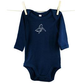 honourebel Babies' SMALL BLUE SHARK Long-sleeved Bodysuit - DeepSeaNavy/White