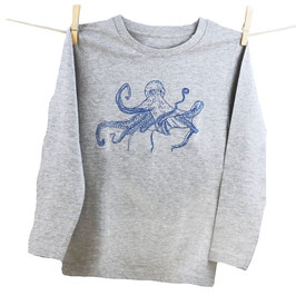 honourebel Kids' COMMON OCTOPUS Long Sleeve Top - 'Stormy' ArcticSeaGrey/Navy