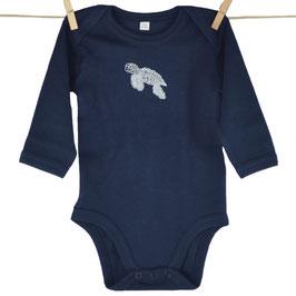 honourebel Babies' BABY HAWKSBILL SEA TURTLE Long-sleeved Bodysuit - DeepSeaNavy/White