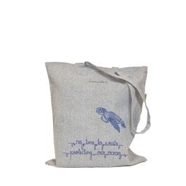 honourebel Recycled Carrier Bag LOGGERHEAD SEA TURTLE - MistyRainbowGrey/NavyBlue