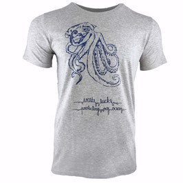 Men's GIANT OCTOPUS T-shirt - 'Stormy' ArcticSeaGrey/Navy