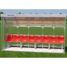 Sport-Thieme® Spielerkabine für 8 Personen Die robuste Sitzbank für Auswechselspieler Acrylgals