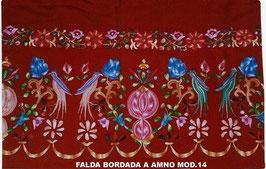 Falda Bordada a mano mod. 14 pajaros