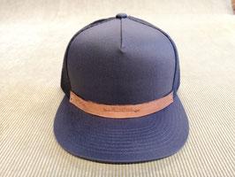 Snapback Cap (grau), mit Netz, Unisex, punziertes Leder-Patch