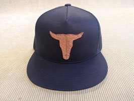 """Snapback Cap (schwarz), mit Netz, Unisex, Leder-Patch """"Büffel"""""""
