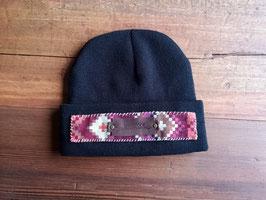 Wintermütze (schwarz) , Damen, Muster(pink), Lederpatch