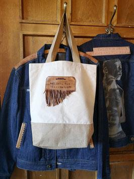 """Shopper, klein, """"(W)einkaufen"""", Jute/Canvas"""