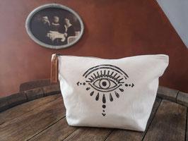 Canvas-Tasche, beige, Auge, Lederanhänger
