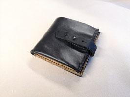 Portemonnaie/Geldbörse (schwarz) Echtr-Leder und Kork