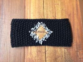 Stirnband (schwarz) mit Lederpatch und Natursteinen