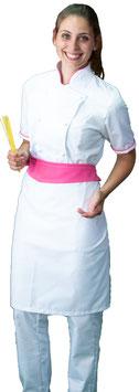 Completo Cuoco Lady M/C Bianco/Fuxia
