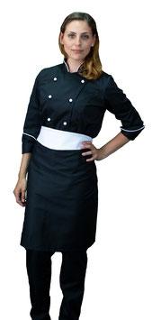 Completo Cuoco Lady Strass Nero/Bianco