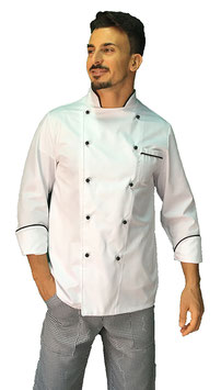 Giacca cuoco uomo Bianco/Nero Manica Lunga