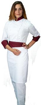 Completo Cuoco Lady Bianco/Bordeaux