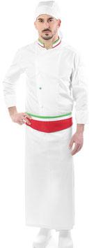 Completo Cuoco Bianco Italia con collo tricolore, Manica lunga