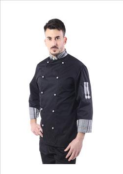 Giacca cuoco uomo  Nero/Scozzese grigio, taschino sulla manica