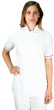 Giacca cuoco Lady M/C Bianco/Viola