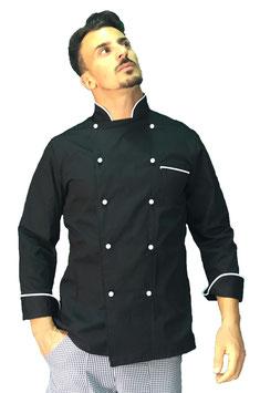 Giacca cuoco uomo Nero/Bianco Manica Lunga