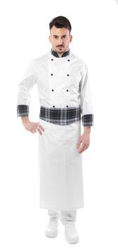 Completo Cuoco bianco/ scozzese grigio