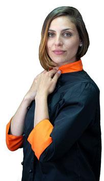 Giacca cuoco Lady Nero/Arancio