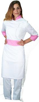 Completo Cuoco Lady Bianco/Rosa