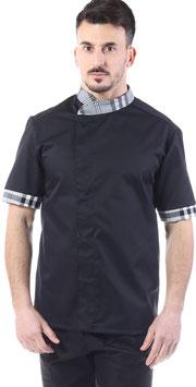 Giacca cuoco uomo Nero/ scozzese grigio  Manica corta