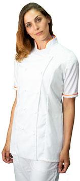 Giacca cuoco Lady M/C Bianco/Arancio