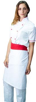 Completo Cuoco Lady M/C Bianco/Rosso