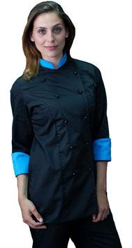 Giacca cuoco Lady Nero/Ciano