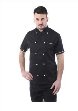 Giacca cuoco uomo Nero/Bianco Manica corta