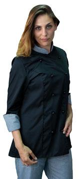 Giacca cuoco Lady Nero/Pied de poule