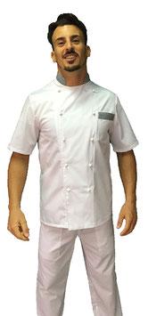 Giacca cuoco uomo Bianco/Pied de Poule Manica Corta