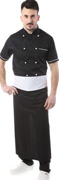 Completo Cuoco Nero Bordato bianco, Manica corta