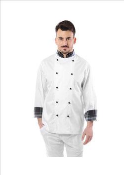 Giacca cuoco uomo Bianco/Scozzese grigio, taschino sulla manica