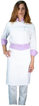 Completo Cuoco Lady Bianco/Lilla