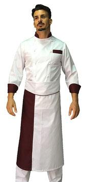 Completo Cuoco  con rifiniture Bordeaux