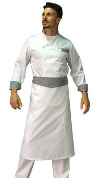 Completo cuoco Pied de poule Manica Lunga con pantalone Bianco