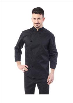 Giacca cuoco Nero, 1 Petto, Uomo Manica Lunga