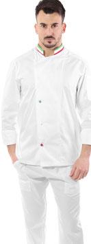 Giacca cuoco uomo Bianco Italia con collo tricolore, Manica lunga
