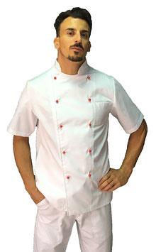 Giacca cuoco Basic Uomo con bottoni rossi, Manica corta