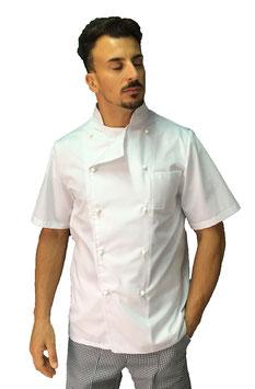 Giacca cuoco Basic Uomo con bottoni bianchi, Manica corta