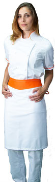 Completo Cuoco Lady M/C Bianco/Arancio