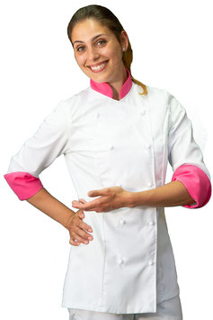 Giacca cuoco Lady Bianco/Fuxia