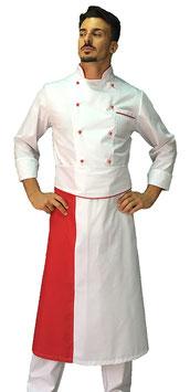 Completo Cuoco Bianco Bordato Rosso