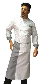 Completo cuoco Pied de poule Manica Lunga con pantalone Nero